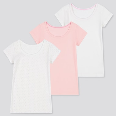 Toddler Cotton Inner Short-Sleeve T-Shirt (Set Of 3) (Online Exclusive), Pink, Medium