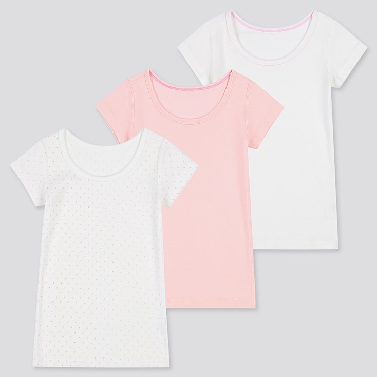 Toddler Cotton Inner Short-Sleeve T-Shirt (Set Of 3) (Online Exclusive), Pink, Large