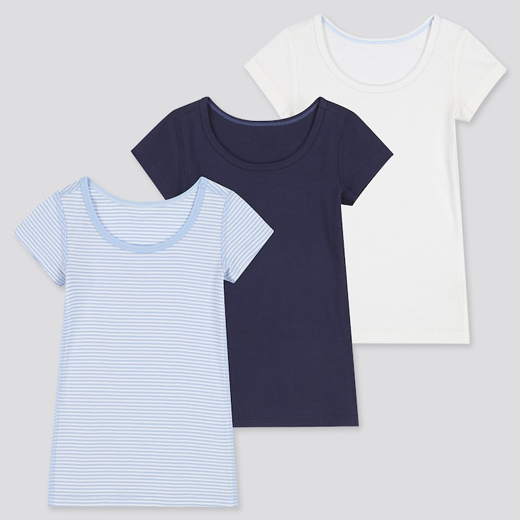 Toddler Cotton Inner Short-Sleeve T-Shirt (Set Of 3) (Online Exclusive), Blue, Large