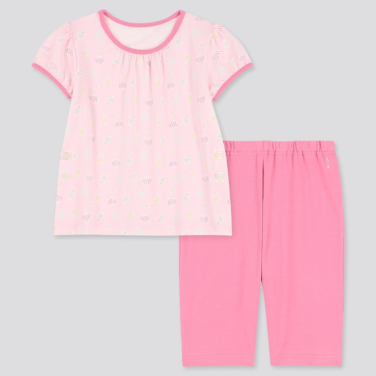 Toddler Dry Short-Sleeve Pajamas, Pink, Large