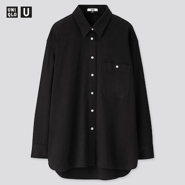 Women U Denim Oversized Long-Sleeve Shirt, Black, Medium
