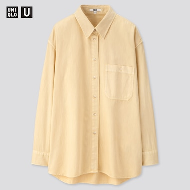 Women U Denim Oversized Long-Sleeve Shirt, Cream, Medium