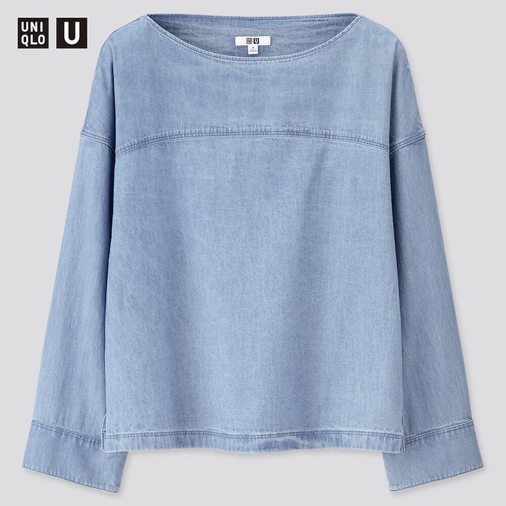 Women U Denim Boat Neck Long-Sleeve Blouse, Blue, Large