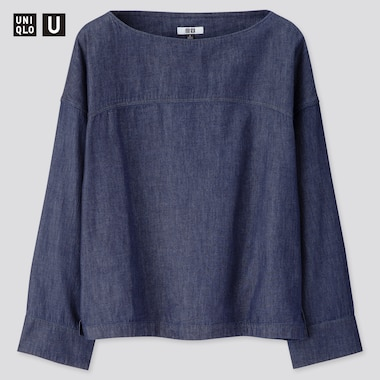 Women Uniqlo U Denim Boat Neck Blouse