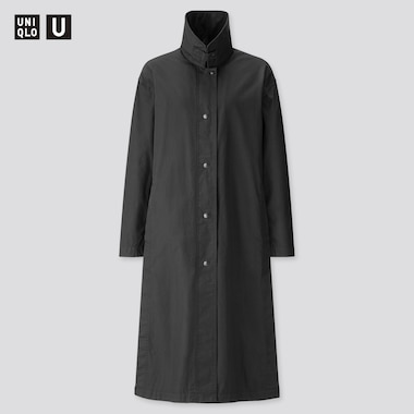 Women U Light Long Coat, Black, Medium
