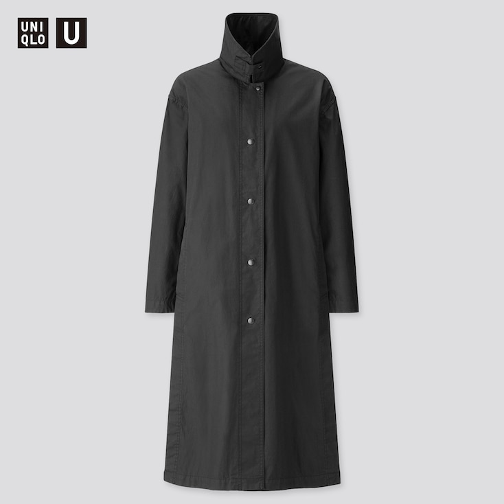 Women U Light Long Coat, Black, Large