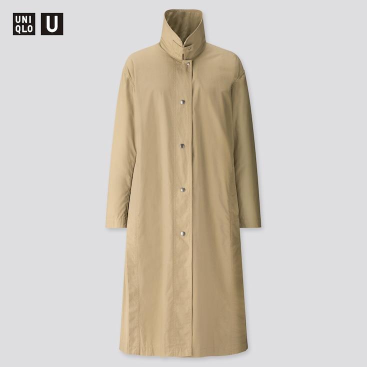 Women U Light Long Coat, Olive, Large