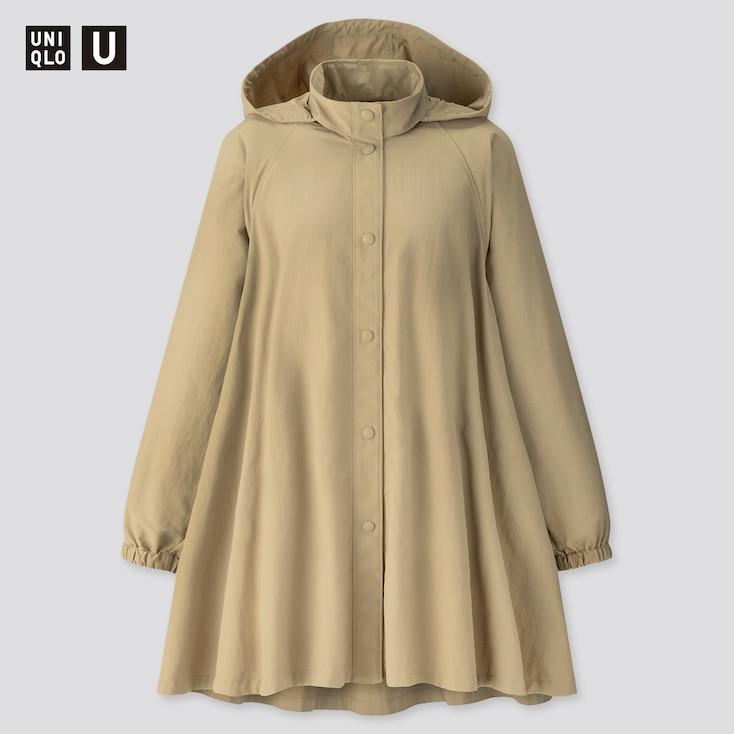 Women U Stand Collar A-Line Coat, Olive, Large
