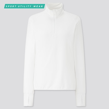 Women Airism Uv Protection Mesh Half-Zip Long-Sleeve T-Shirt (Online Exclusive), White, Medium