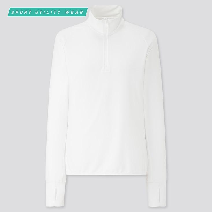 Women Airism Uv Protection Mesh Half-Zip Long-Sleeve T-Shirt, White, Large