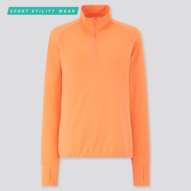 Women Airism Uv Protection Mesh Half-Zip Long-Sleeve T-Shirt, Orange, Medium