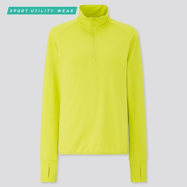 Women Airism Uv Protection Mesh Half-Zip Long-Sleeve T-Shirt, Yellow, Medium