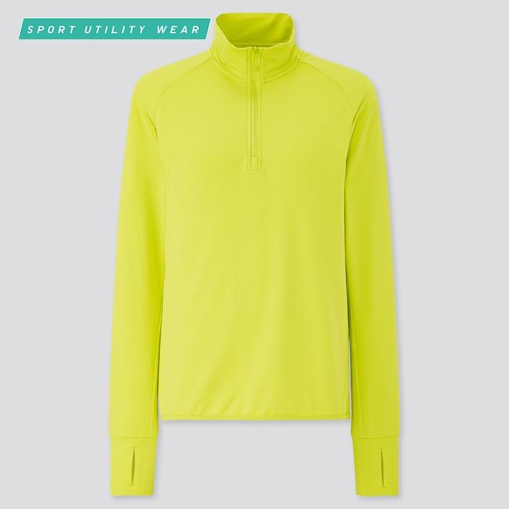 Women Airism Uv Protection Mesh Half-Zip Long-Sleeve T-Shirt, Yellow, Large