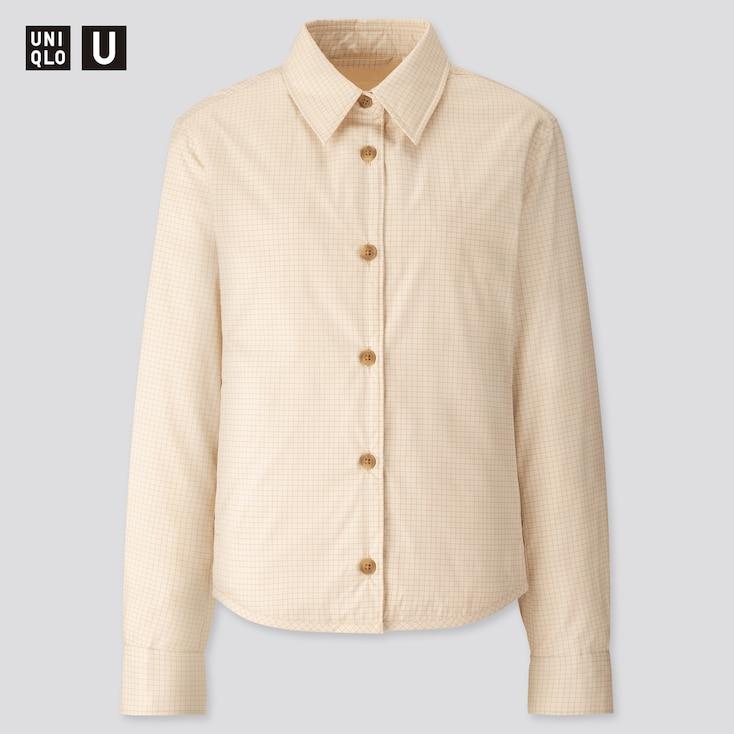 Women U Padded Shirt Jacket, Off White, Large