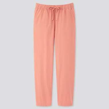 Women Cotton Relax Ankle-Length Pants, Pink, Medium