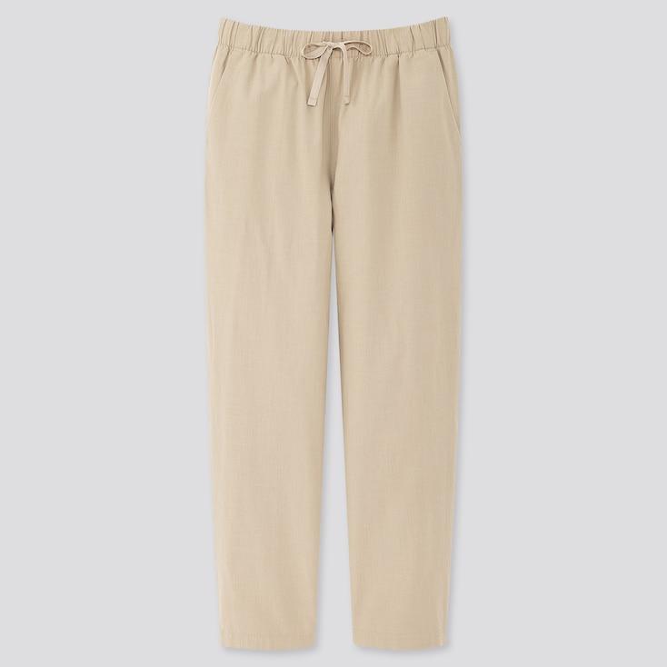 Women Cotton Relax Ankle-Length Pants, Beige, Large