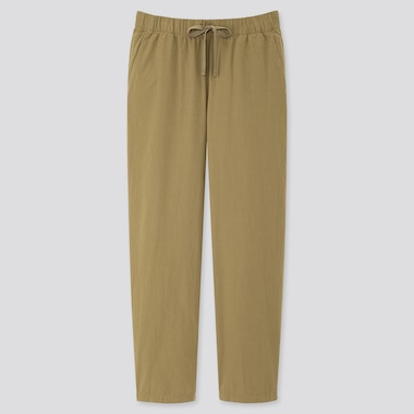 Women Cotton Relax Ankle-Length Pants, Olive, Medium
