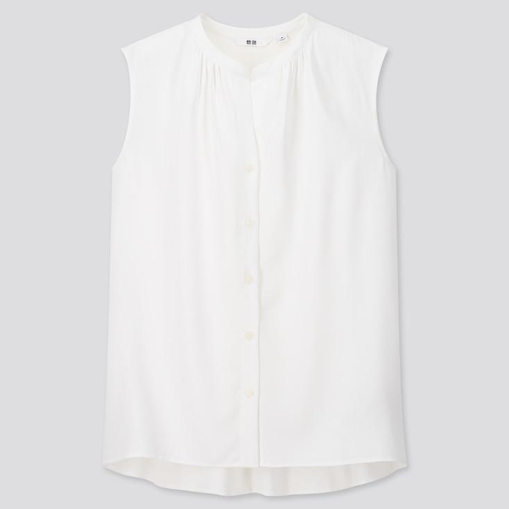 Women Rayon Sleeveless Blouse, White, Large