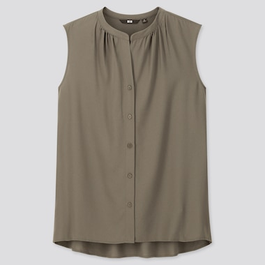 Women Rayon Sleeveless Blouse, Olive, Medium