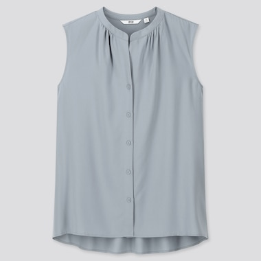 Women Rayon Grandad Collar Sleeveless Blouse