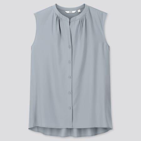 Women Viscose Grandad Collar Sleeveless Blouse