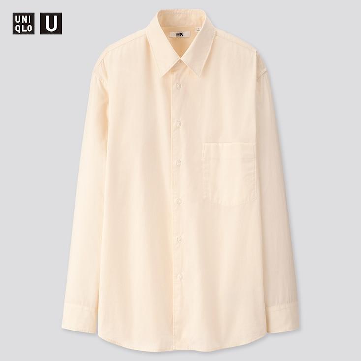 Men U Cotton Regular Collar Long-Sleeve Shirt, Natural, Large