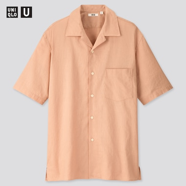 Men U Linen Cotton Short-Sleeve Shirt, Pink, Medium