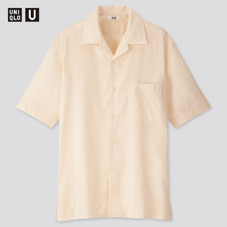 Men U Linen Cotton Short-Sleeve Shirt, Natural, Large