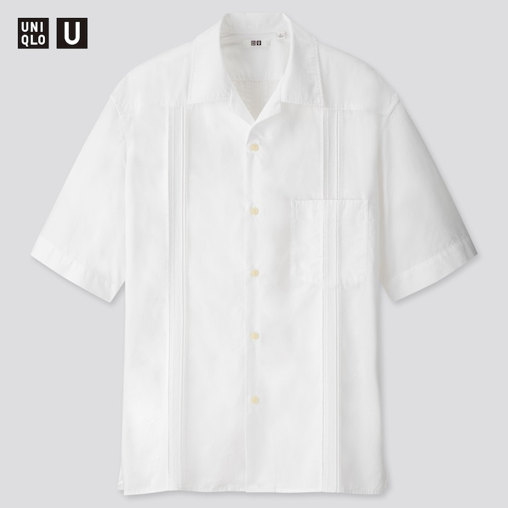 Men U Cuban Short-Sleeve Shirt, White, Large