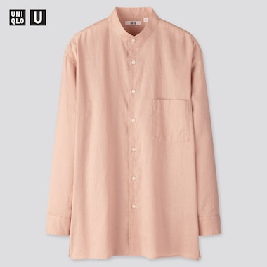 Men U Linen Cotton Stand Collar Long-Sleeve Shirt, Pink, Medium