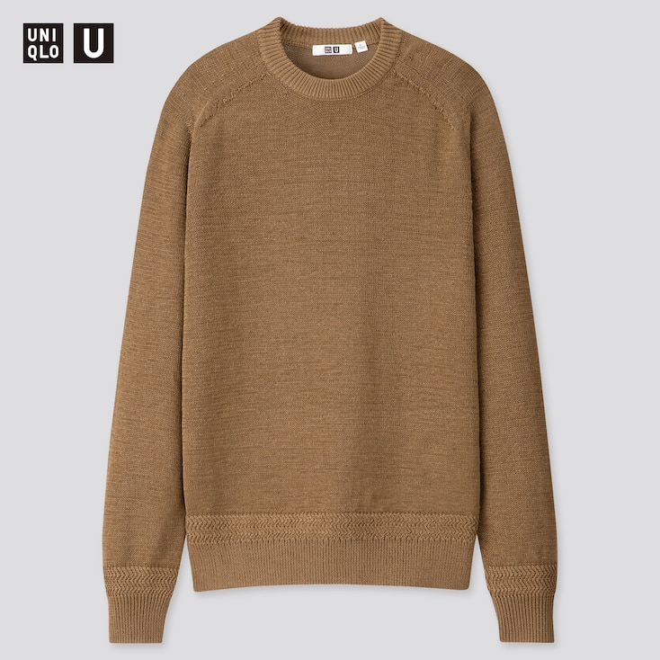 Men U Dry Touch Summer Crew  Neck Long-Sleeve Sweater, Brown, Large