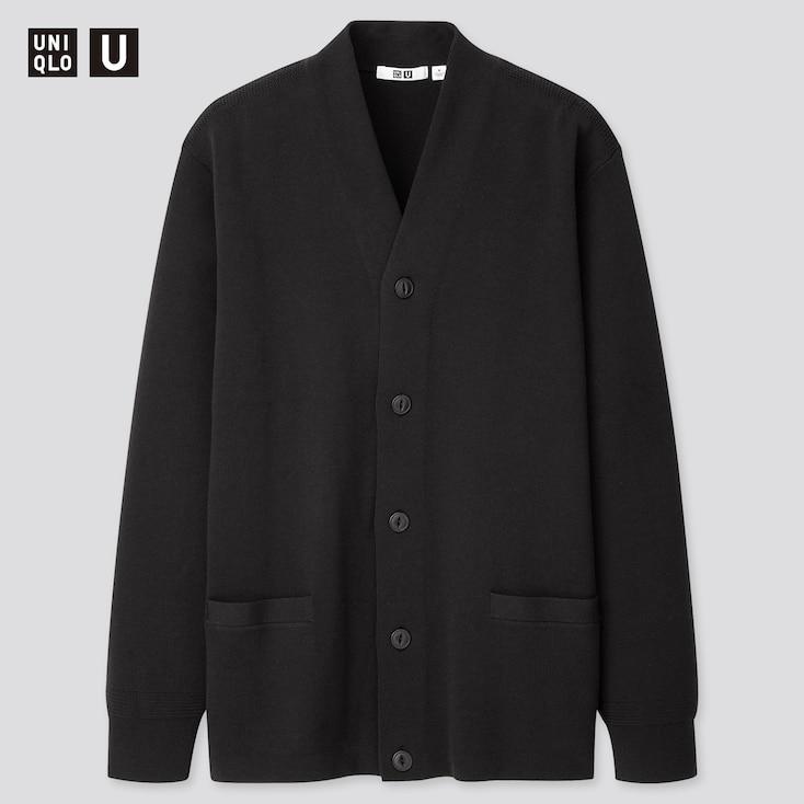 Men U Middle Gauge V-Neck Long-Sleeve Cardigan, Black, Large