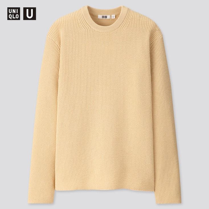 Men U Ribbed Crew Neck Long-Sleeve Sweater, Beige, Large