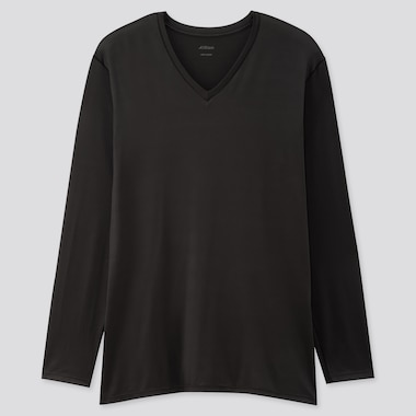 Men Airism V-Neck Long-Sleeve T-Shirt (Online Exclusive), Black, Medium
