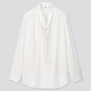 WOMEN RAYON BOW TIE LONG-SLEEVE BLOUSE, WHITE, medium