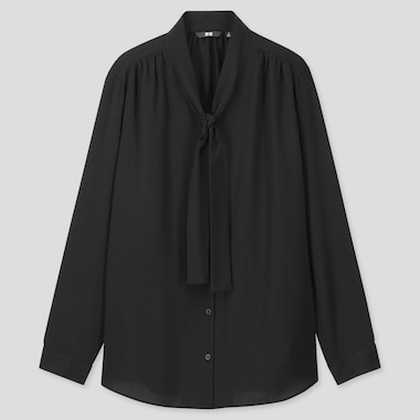 Women Rayon Bow Tie Long-Sleeve Blouse, Black, Medium