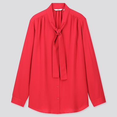 Women Rayon Bow Tie Long-Sleeve Blouse, Red, Medium