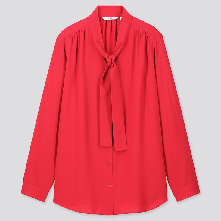Women Rayon Bow Tie Long-Sleeve Blouse, Red, Large