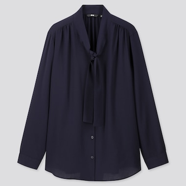 Women Rayon Bow Tie Long-Sleeve Blouse, Navy, Medium