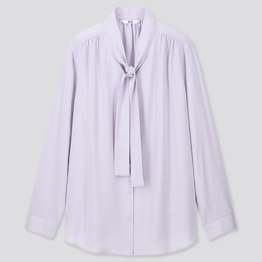 WOMEN RAYON BOW TIE LONG-SLEEVE BLOUSE, LIGHT PURPLE, medium