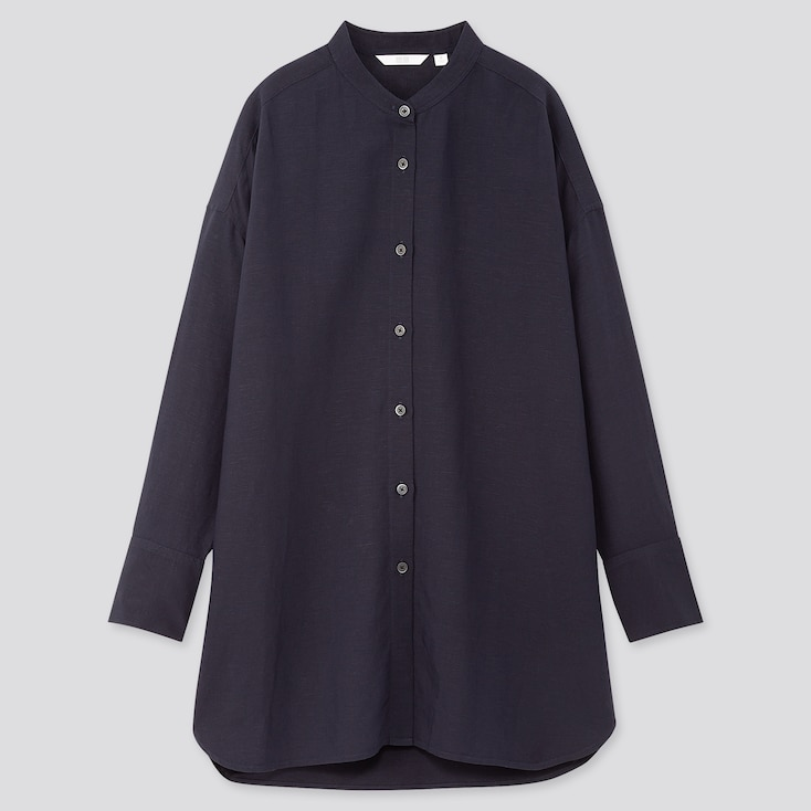 Women Linen Blend Stand Collar Long-Sleeve Tunic, Navy, Large