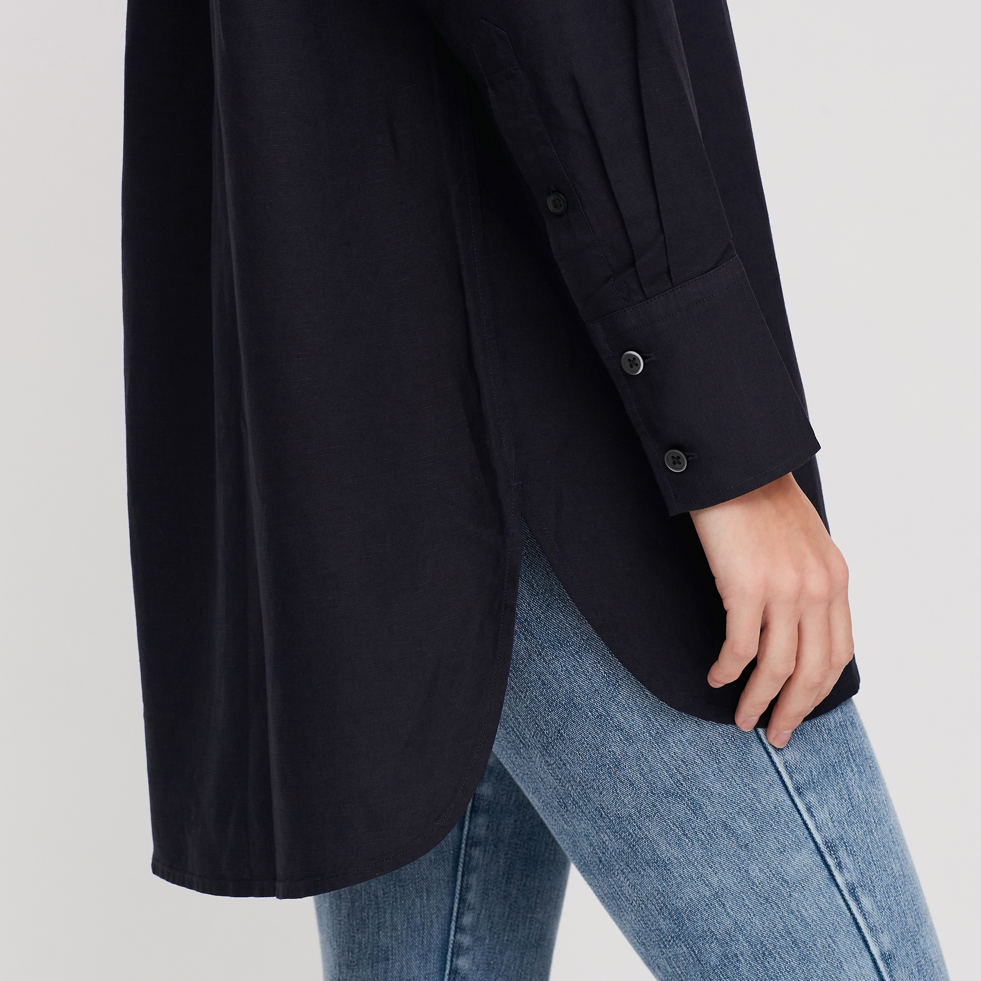 Women Linen Blend Stand Collar Long-Sleeve Tunic, Off White, Small