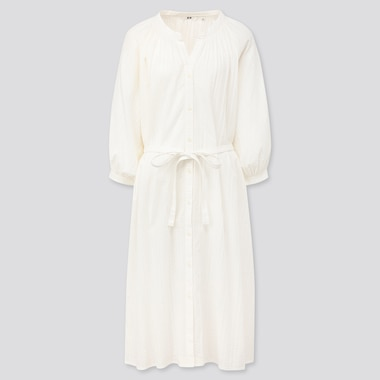 Women Cotton Dobby 3/4 Sleeve Peasant Dress, White, Medium