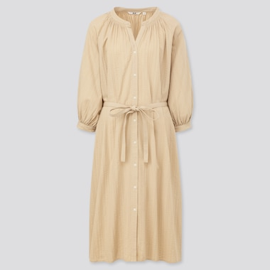 Women Cotton Dobby 3/4 Sleeve Peasant Dress, Beige, Medium