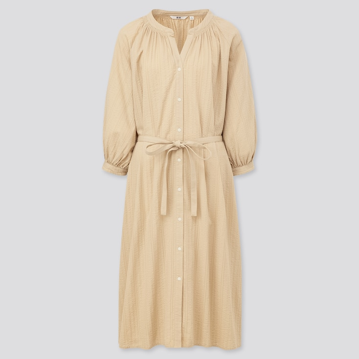 Women Cotton Dobby 3/4 Sleeve Peasant Dress, Beige, Large