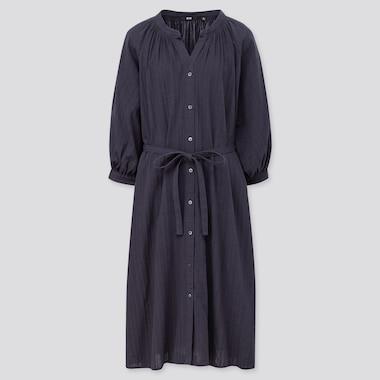 Women Cotton Dobby 3/4 Sleeve Peasant Dress, Navy, Medium