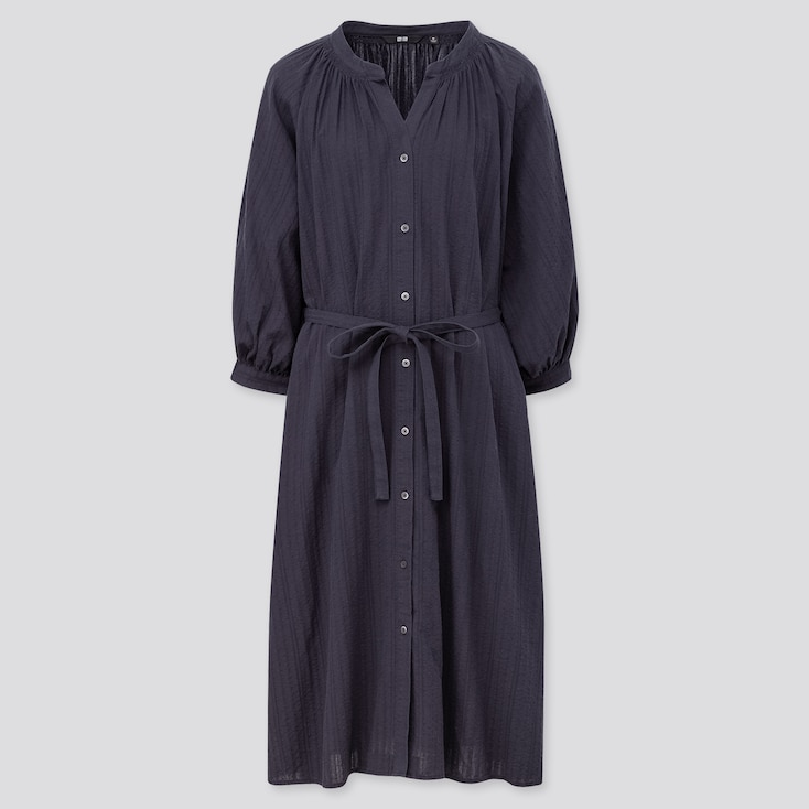 Women Cotton Dobby 3/4 Sleeve Peasant Dress, Navy, Large