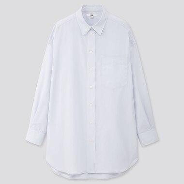 Women Extra Fine Cotton Oversized Long-Sleeve Shirt, Light Blue, Medium