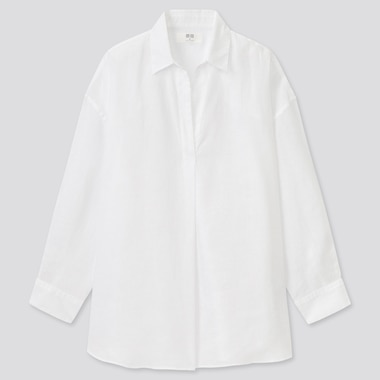 Women Premium Linen Skipper Collar 3/4 Sleeve Shirt, White, Medium