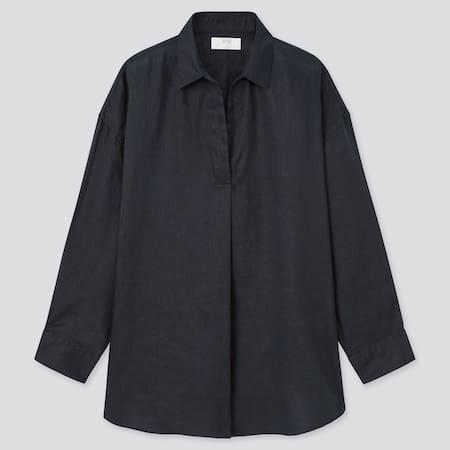 Women 100% Premium Linen Skipper Collar 3/4 Sleeved Shirt